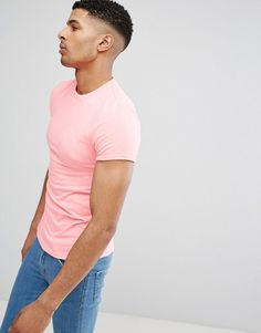 ASOS DESIGN muscle t-shirt with roll sleeves in pink