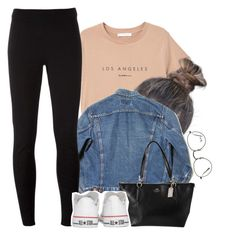 """""""Airport Style"""" by xomadibbyyy ❤ liked on Polyvore featuring MANGO, NIKE, Coach, Converse and Ray-Ban"""