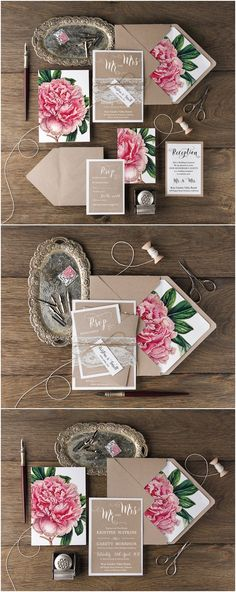 Tarjetas de Invitación, RSVP, Partes de Matrimonio florales, rústicos. Caligrafía.