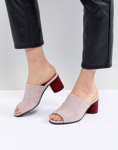 Suede Mule With Contrast Heel, pink heels, chic shoes for women, summer shoes