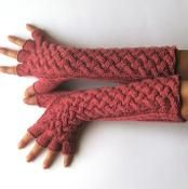 Double Cable Gloves with Cut Fingers - via @Craftsy