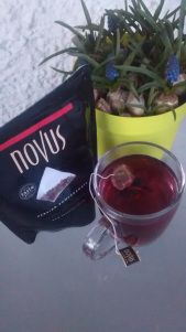 Novus Persian Pomegranate tea being enjoyed in the sunshine!