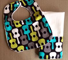 Baby Bib and Burp Cloth Set - Groovy Guitars - Blue, Green and Gray on Etsy, $18.00