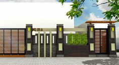 When we design a house, there must be a lot of elements that must be considered such as the fence of the house, home design, interior, and e. House Fence Design, Modern Fence Design, Gate Design, Minimalist House Design, Minimalist Home, Brick Design, Exterior Design, Boundry Wall, Compound Wall Design