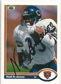 1991, Neal Anderson, Chicago Bears, Signed, Autographed, Upper Deck Football Card, Card # 244, a COA Will Be Included