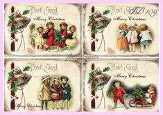 Vintage Shabby Chic Set of 4 Christmas Fabric Block Quilt Pillow Stocking FB 109 Merry Christmas, Christmas Post, Christmas Scenes, Vintage Christmas Ornaments, Christmas Images, Kids Christmas, Christmas Crafts, Christmas Decoupage, Christmas Mantles
