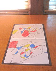 Joan Miro art project for kids Kindergarten Art, Preschool Art, Joan Miro, School Art Projects, Projects For Kids, Mondrian, Art Cart, 2nd Grade Art, Ecole Art