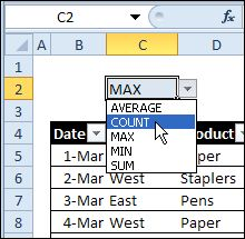 Last year, I shared a technique for selecting a function name from a drop down list, and that changed the formulas in a summary row on the worksheet. Choose MAX, to see the highest...