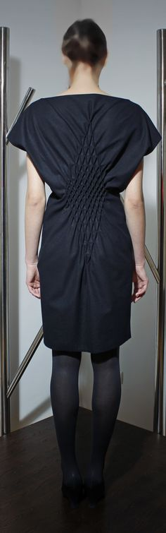 Dress detail with honeycomb smocked tucks - creative fabric manipulation for fashion design, both structural & decorative // Cristian Samfira