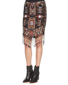 Geometric Embellished Skirt w/Fringe, Multi Colors
