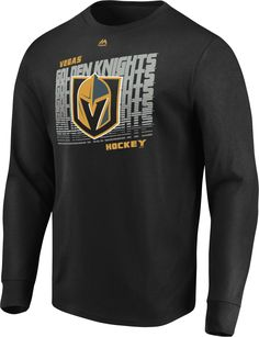 innovative design 1a7d9 b9ebd Majestic Men s Vegas Golden Knights Penalty Shot Black Long Sleeve Shirt Penalty  Shot, Black Long