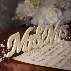 """Mr & Mrs"" Wood Cutout Sign 1.99"