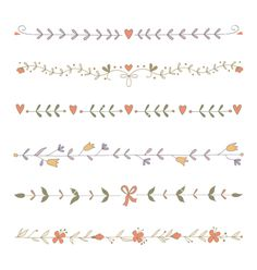 Set of hand drawn floral border elements vector vintage by Julia_Henze on VectorStock®