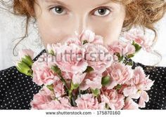Portrait of a Woman with a Pink Carnation Pink Carnations, Floral Wreath, Crown, Wreaths, Portrait, Image, Women, Fashion, Moda