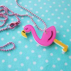 Flamingo Kitsch Acrylic Necklace - Quirky Fashion Jewelry