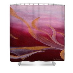 Ruby Flow Shower Curtain by Faye Anastasopoulou. This shower curtain is made from polyester fabric and includes 12 holes at the top of the curtain for simple hanging. The total dimensions of the shower curtain are wide x tall. Basic Colors, Warm Colors, Beautiful Modern Homes, Fancy Houses, Pattern Pictures, Curtains With Rings, Curtains For Sale, My Themes, Shower Curtains
