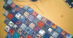 Since I am always asked how this blanket is knitted, I write … – My CMS Mitered Square, Fabric Tags, Capes, Diy And Crafts, Knit Crochet, Plaid, Blog, Quilts, Writing
