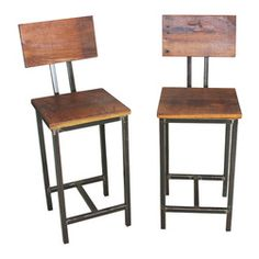 wine bar with industrial look decor | bar stools feature hand-welded steel pipe legs for an industrial look ...