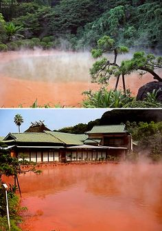"""""""Blood Pond Hot Spring is one of the """"hells"""" (jigoku) of Beppu, Japan, nine spectacular natural hot springs that are more for viewing rather than bathing. The """"blood pond hell"""" features a pond of hot, red water, colored as such by iron in the waters. It's allegedly the most photogenic of the nine hells."""""""