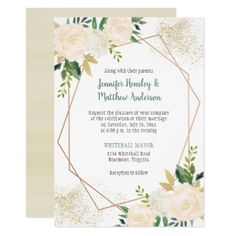 Cream White Roses Geometric Gold Glitter Card - summer wedding diy marriage customize personalize couple idea individuel