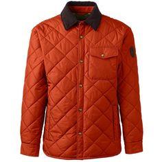 Lands' End Men's Quilted Primaloft Shirt Jacket ($80) ❤ liked on Polyvore featuring men's fashion, men's clothing, men's outerwear, men's jackets, orange, mens quilted jacket, mens jackets, mens fleece lined jacket, lands end mens jacket and mens insulated jackets