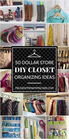 50 Dollar Store Closet Organization Ideas Get organized for less with these dollar store closet organization ideas. From clothing to accessories and other closet DIY ideas, there are plenty of affordable ways to organize all your closets. Organisation Hacks, Organization Store, Organizing Ideas, Clothing Organization, Organization Ideas For Bedrooms, Dollar Tree Organization, Bedroom Storage Ideas Diy, Clothing Closet Organization, Organizing Small Closets