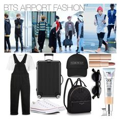 """Bts"" by lauralydix on Polyvore featuring T By Alexander Wang, Monki, Converse, Rimowa, Charlotte Tilbury and It Cosmetics"