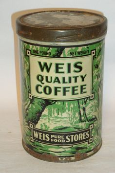 Nice Old Litho Tall 1 Lb. Weis Brand Coffee Advertising Coffee Tin Can