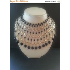 Now On Sale Huge Bib Necklace, Vintage Statement Necklace, Black Glass... (345 ILS) ❤ liked on Polyvore featuring jewelry, necklaces, glass bead jewelry, bib statement necklace, vintage bib necklace, vintage statement necklace and vintage jewelry