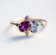 Garnet and Tanzanite Ring by Melanie Casey