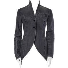 Preowned Victorian Style Givenchy Distressed Denim Frock Coat ($1,500) ❤ liked on Polyvore featuring outerwear, coats, multiple, victorian coat, givenchy, victorian frock coat, givenchy coat and frock coat