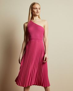 Asymmetric knitted midi dress - Bright Pink | Clothing | Ted Baker Bright Pink Dresses, Pink Formal Dresses, Pink Outfits, Dress Outfits, Asymmetrical Tops, Pleated Midi Skirt, Ted Baker, Women Wear, Clothes For Women