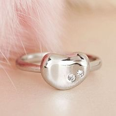 $11.50 - Silver Bean Ring, Jelly Kidney Shaped Adjustable Ring