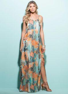 Vestido Longo com Fendas (Maxi Floral)