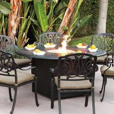 Round Fire Pit Dining Table And Chairs In Antique Bronze