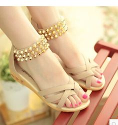 2015 women new fashion summer flat heels sandals beaded low-heeled slippers sweet gladiator wedges shoes
