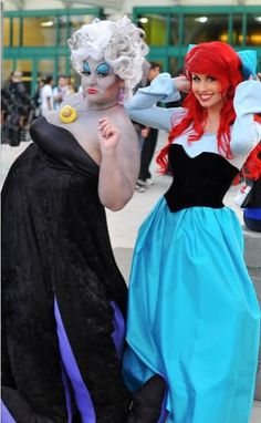 Ariel and Ursula... but I don't think I'll use a drag queen...