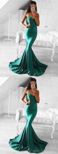 Green Prom Dresses, Long Prom Dresses, Modest Prom Dresses For Teens, Silk-like Satin Prom Dresses V-neck, Trumpet/Mermaid Prom Dresses Draped
