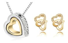 Ücretsiz nakliye yüzen kalp Toptan düğün moda Çek Kristal rhinestones Çift Kalp kolye küpe Takı Setleri