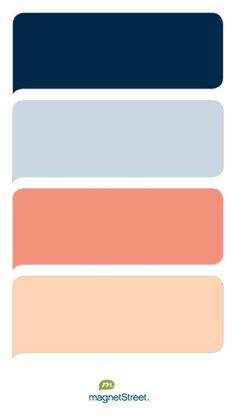 Navy, Custom Blue, Coral, and Peach Wedding Color Palette - custom color palette created at MagnetStreet.com