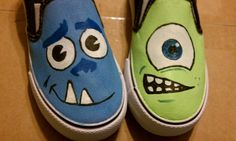 Custom hand painted Disney Pixar Monsters Inc by DaisyGirlJoy, $40.00