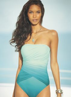 Gottex 'Ombré Goddess' One Piece Bandeau Swimsuit. This may be cute enough to convert me to a one piece…