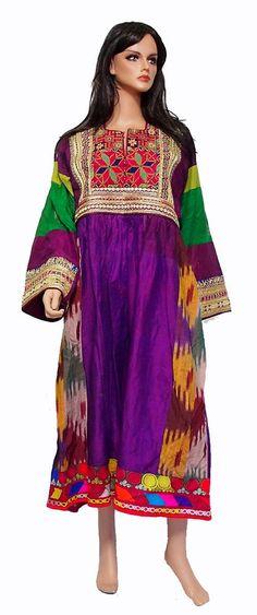 antik Orient Nomaden kuchi Seide Tracht afghan kleid afghanistan silk dress 15-1