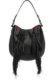 Luckyl fringed textured-leather shoulder bag