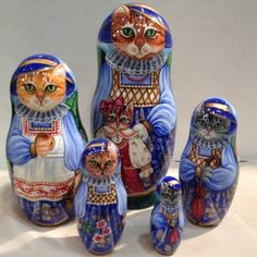 Mama Cat And Family Russian Hand Carved Hand Painted UNIQUE Nesting Doll Set