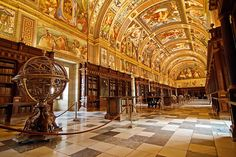 The Library of the Royal Site of San Lorenzo de El Escorial, Spain, which is listed as a World Heritage Site.