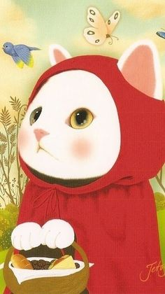 Choo Choo Jetoy - Cat and Red Riding Hood. The image shows an enlarged cat in the foreground which pulls it to the immediate attention. The color red also makes it stand out. The white fur color against the red makes the face and hands stand out more, which then leads to the eyes and the food.