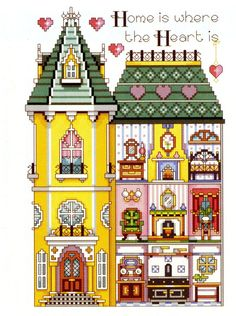 "ru / natalytretyak - Album ""The Victorian House"" Cross Stitch Kits, Cross Stitch Patterns, Cross Stitching, Cross Stitch Embroidery, Cross Stitch Collection, Diy Christmas Ornaments, Miniture Things, Paper Toys, Victorian Homes"