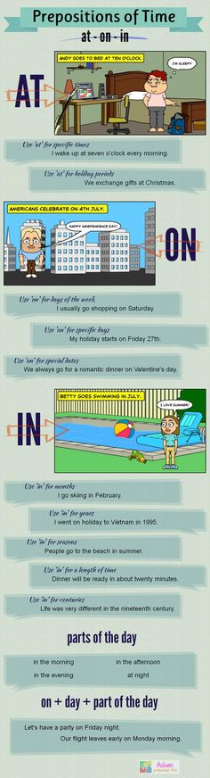 Infographic: prepositions of time | Teach them #English #LearnEnglish #ELT #ESL #EFL