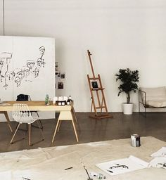 Art studio home office combination: minimalist scandinavian art studio // t Art Studio Decor, Art Studio Design, Studio Room, Studio Ideas, Tumblr Room Decor, Tumblr Rooms, Studio Apartment Design, Studio Interior, Kawaii Charms